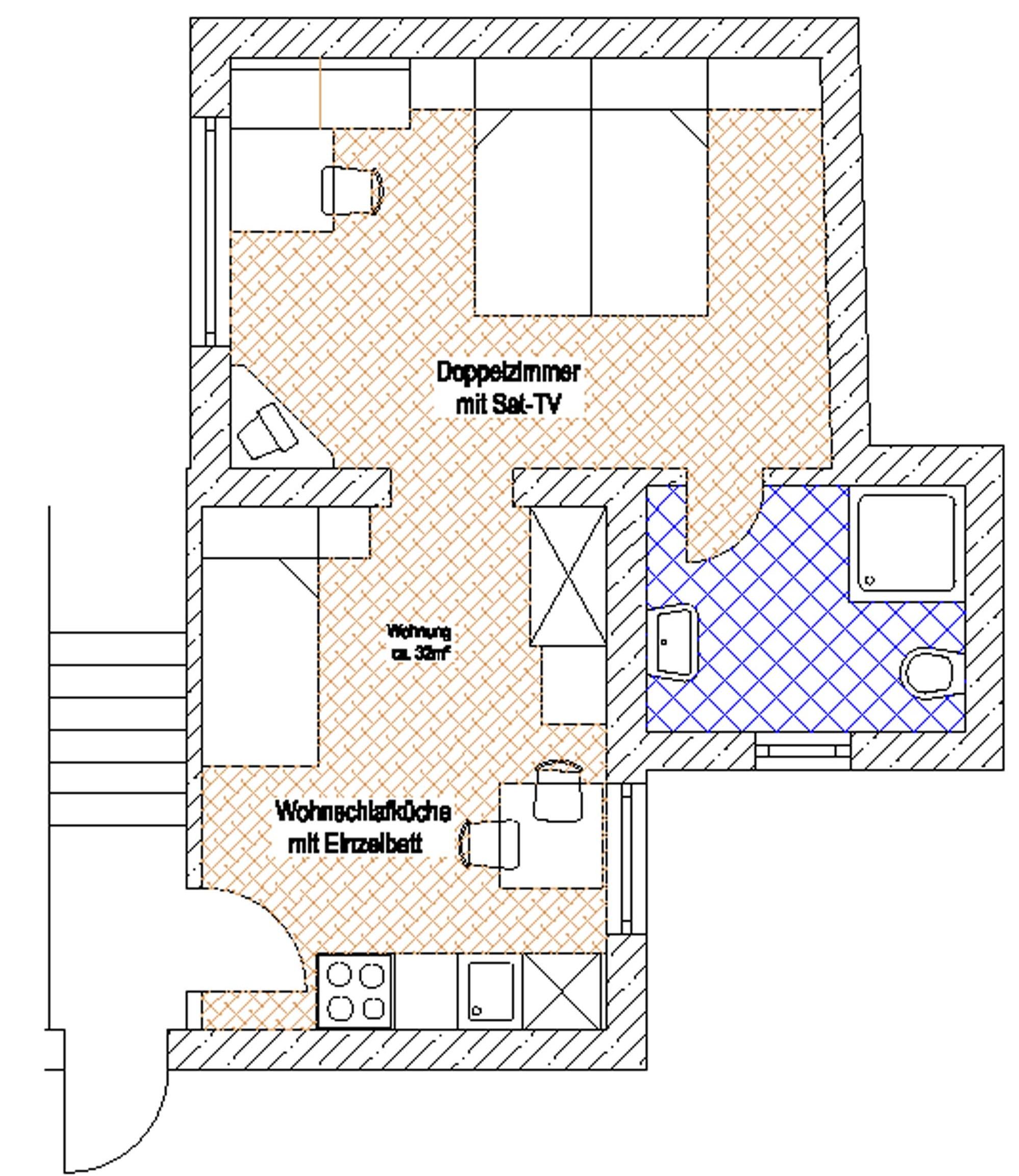 Appartement 2 für 2 4 pers ca 47m² und balkon neu eingerichtete küche mit sitzecke schlafcouch und sattv 1 doppelzimmer mit waschbecken 1 einzelzimmer